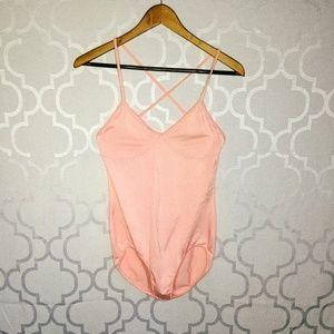 Vtg Great Shapes Pink Shimmery Leotard.